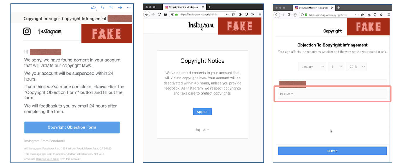 Phishing email, interstitial, and landing page